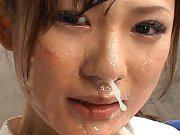 Natsu Ando has several guys cum on her face in thi...