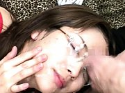 Moe Nishimura gets her glasses covered in cum duri...