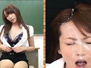 Hana Nonoka Asian takes boobs out of bra and gets...