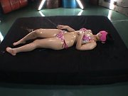 Ruka Kanae in bath suit fondles her sexy body whil...