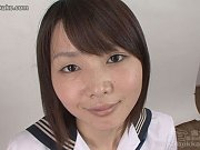 Schoolgirl Ai shows her sweet pussy before 40 guy...