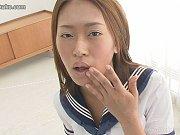 Schoolgirl Nao drinks her fill of sperm as cock af...