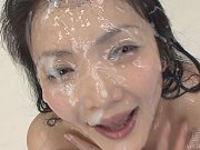 Yuria is nearly smothered in sperm as buckets of c...