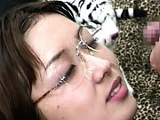 Moe Nishimura gets her glasses covered in cum duri...