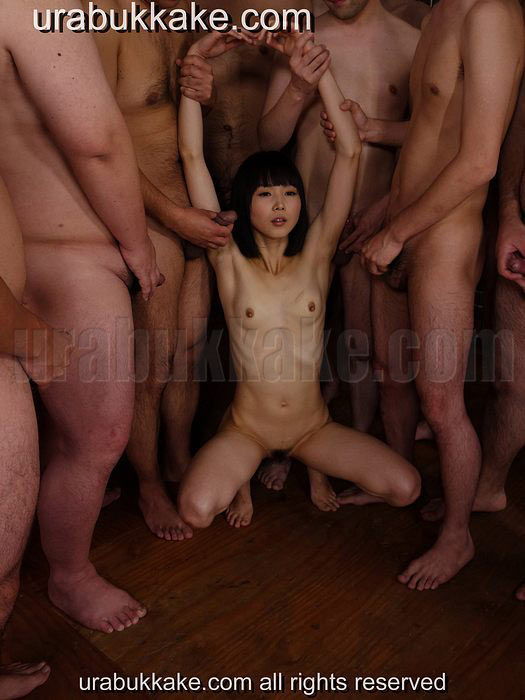 Horny little Japanese cum dumpster is ready for her first gangbang fuck bukkake